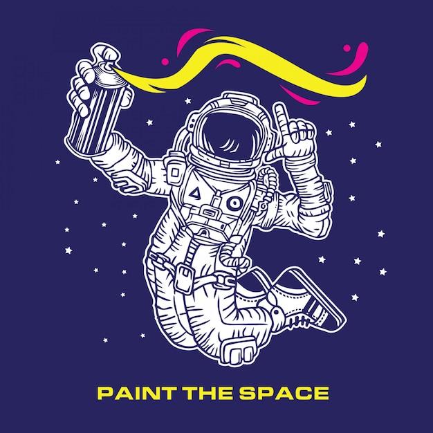 Malen sie die space astronaut graffiti Premium Vektoren