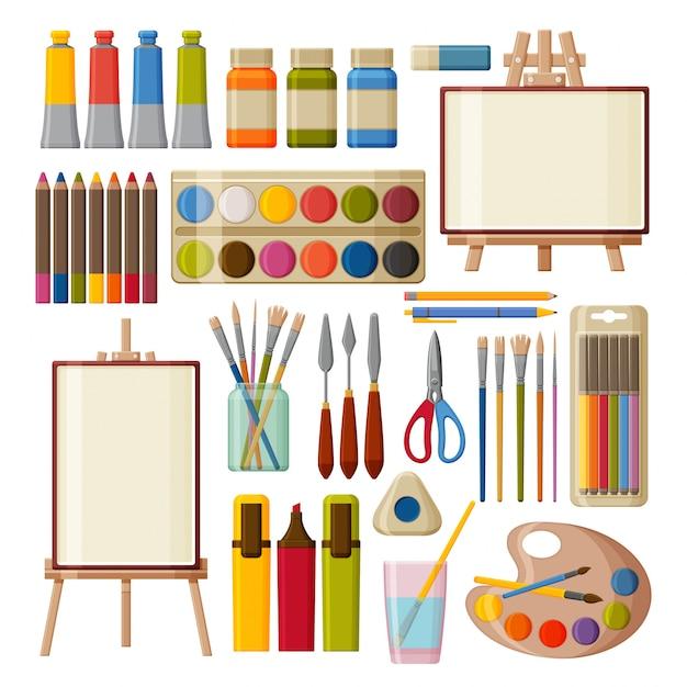 Malen sie kunstwerkzeuge eingestellt. aquarell-, gouacheöl- und acrylfarben. filzstifte, buntstifte und pinsel zum malen. tisch- und bodenstaffeleien. illustration. Premium Vektoren