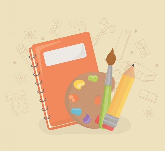 Malen sie palette und versorgungsmaterialien zurück zur schule Kostenlosen Vektoren