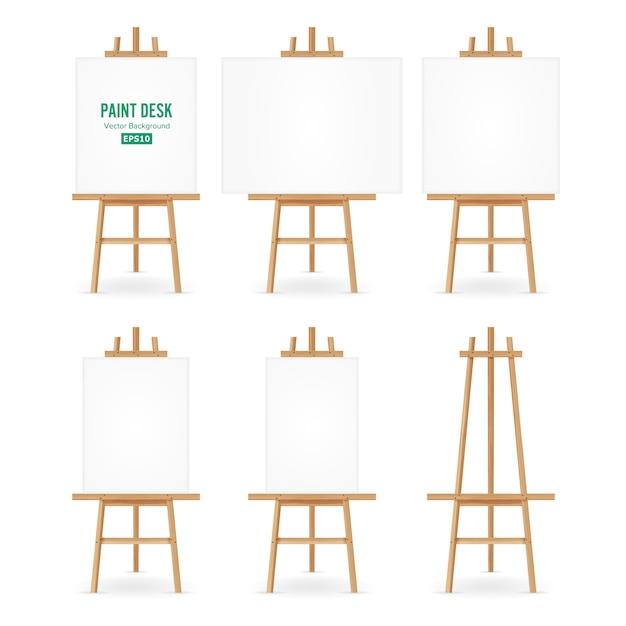 Malen sie schreibtisch-vektor. künstler-staffelei mit weißem papier. isoliert auf weißem hintergrund. realistische maler-schreibtisch-leere leinwand auf staffelei. Premium Vektoren