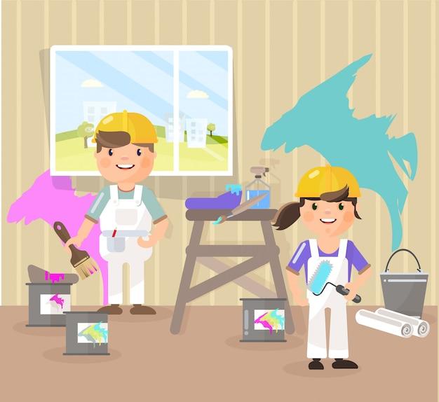 Maler malen den raum, nehmen die farbe auf Premium Vektoren