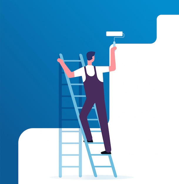 Maler malerei wand. arbeiter auf leiter malt nach hause. reparaturservice und erneuerungsvektorkonzept Premium Vektoren
