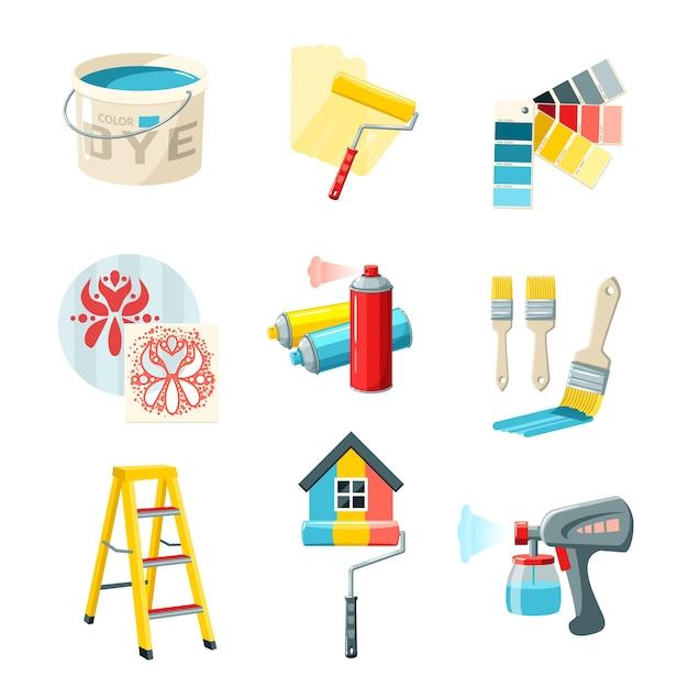 Malerei arbeitssatz Kostenlosen Vektoren