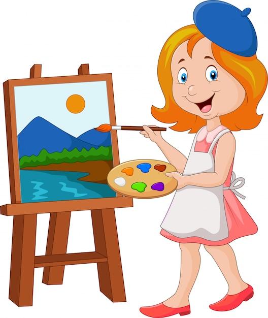 Malerei des kleinen mädchens auf einer leinwand Premium Vektoren