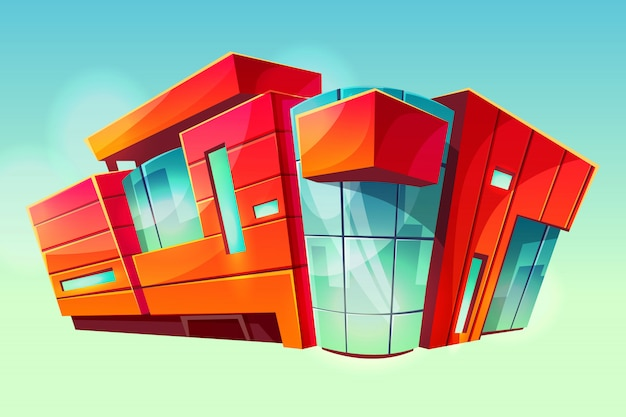 Mall- oder supermarktgeschäftsgebäudeillustration. moderne fassade des handelszentrums Kostenlosen Vektoren