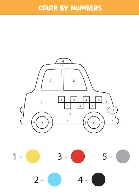 Malvorlage mit cartoon-taxi. farbe nach zahlen. mathe-spiel für kinder. Premium Vektoren