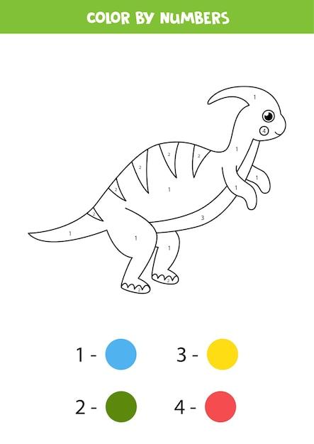 Malvorlagen mit niedlichen cartoon-dinosaurier. farbe nach zahlen. Premium Vektoren