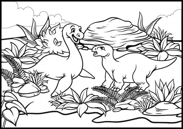 malvorlagen von cartoon dinosaurus welt  premiumvektor