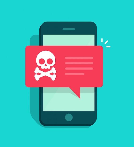 Malware-benachrichtigung oder internetbetrugsfehlermeldung auf smartphone oder handy Premium Vektoren