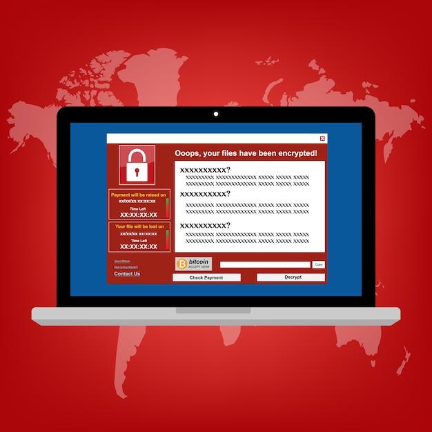 Malware ransomware-virus Premium Vektoren