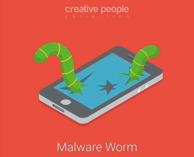 Malware-wurmvirus-app-software. flaches isometrisches touchscreen-gerät mit kaputtem bildschirmwurm online-internet-hacker-technologiekonzept Kostenlosen Vektoren