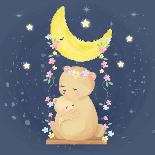 Mama und baby tragen illustration Premium Vektoren