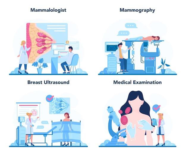 Mammologe-konzeptsatz. konsultation mit dem arzt über brustkrebs. Premium Vektoren
