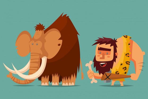 Mammut und höhlenbewohner mit einer steinzeitwaffe in der hand Premium Vektoren
