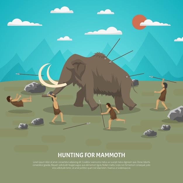 Mammutjagd-illustration Kostenlosen Vektoren