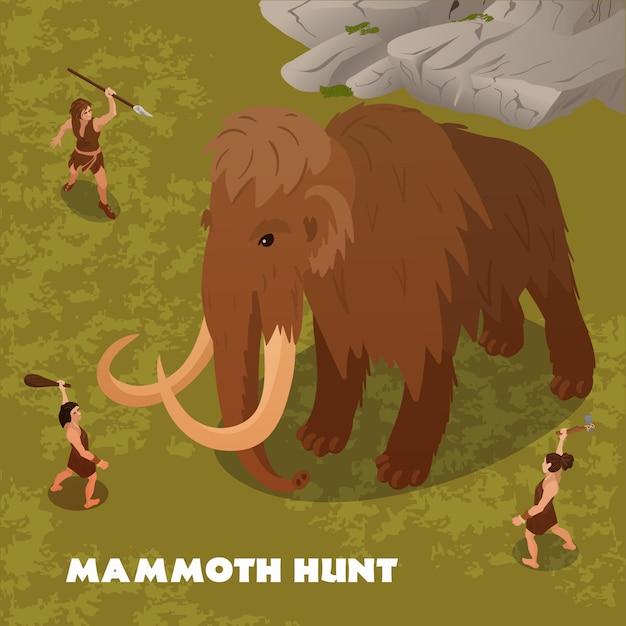 Mammutjagdillustration Kostenlosen Vektoren