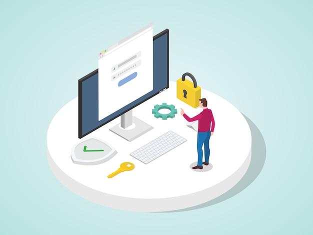 Man access application anmeldung mit passwort auf dem computer schützen persönliches informationssystem. konto persönlichen sicherheitskonzept modernen flachen cartoon-stil. Premium Vektoren