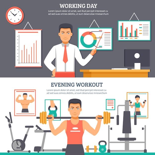 Man daily routine banner set Kostenlosen Vektoren