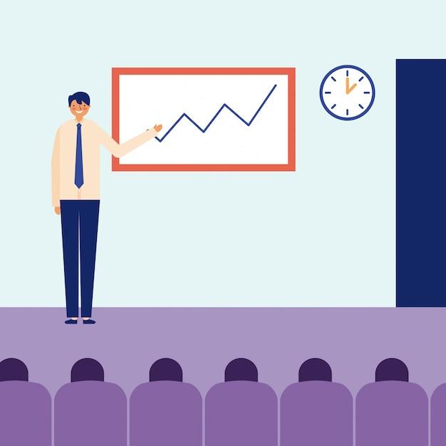 Man präsentation statistik tägliche aktivität Kostenlosen Vektoren