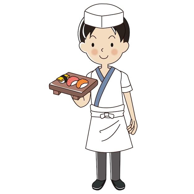 Man sushi-chef Premium Vektoren