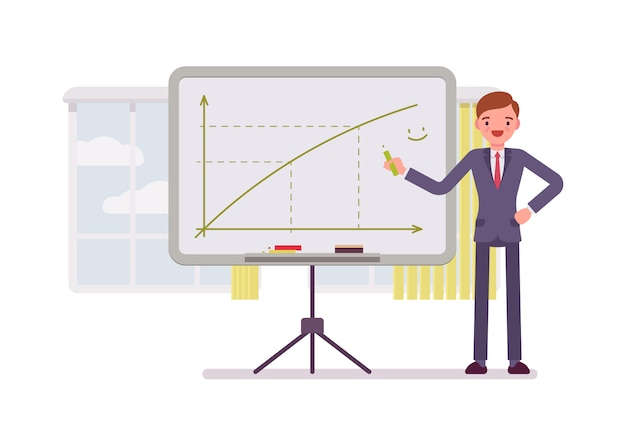Man zeichnete ein positives diagramm auf das whiteboard Premium Vektoren