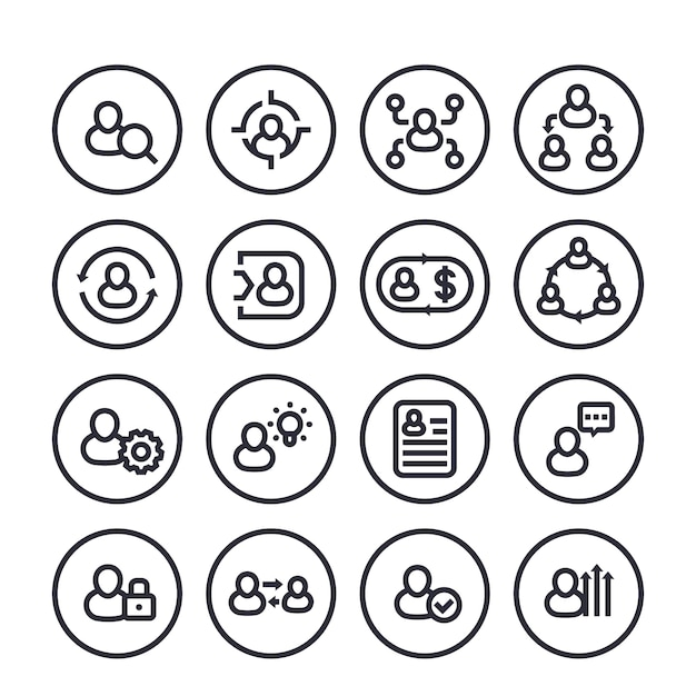 Management, personalwesen, hr-linie ikonen eingestellt auf weiß Premium Vektoren