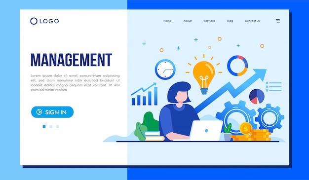 Managementlandungsseitenwebsiteillustrations-vektordesign Premium Vektoren