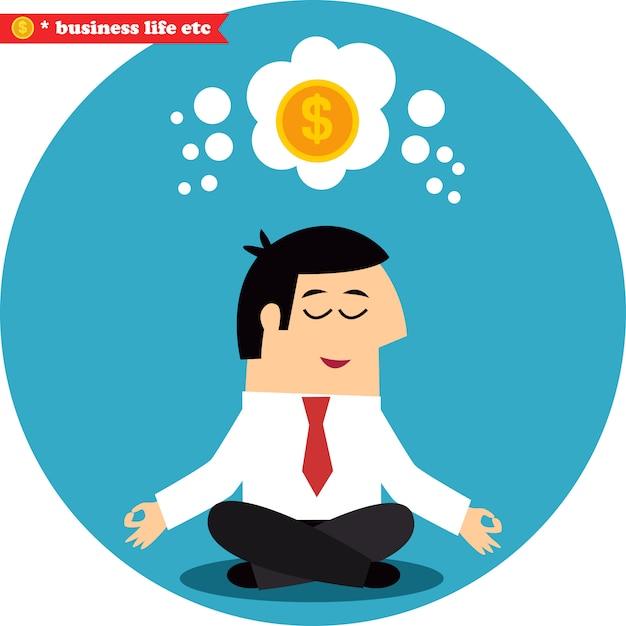 Manager, der über geld und erfolg meditiert Premium Vektoren
