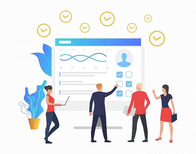 Manager, die diagramm auf monitor betrachten Kostenlosen Vektoren