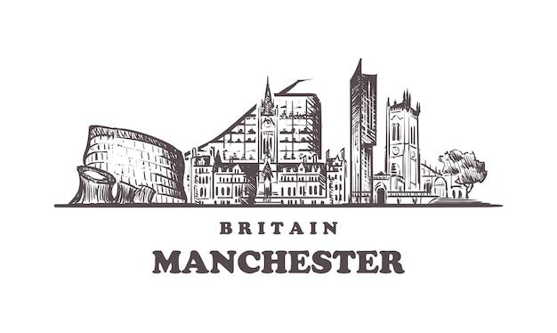Manchester skyline in großbritannien Premium Vektoren