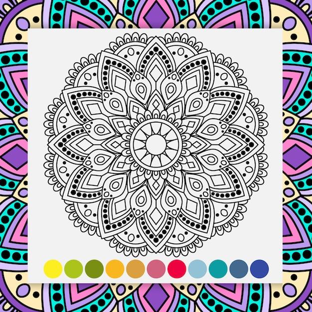 Mandala blume für erwachsene entspannendes malbuch. Premium Vektoren