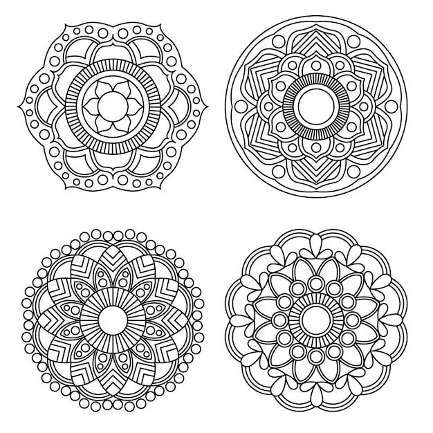 Mandala, die runde art der verzierung 4 der blumen- und blumenmandala färbt. Premium Vektoren