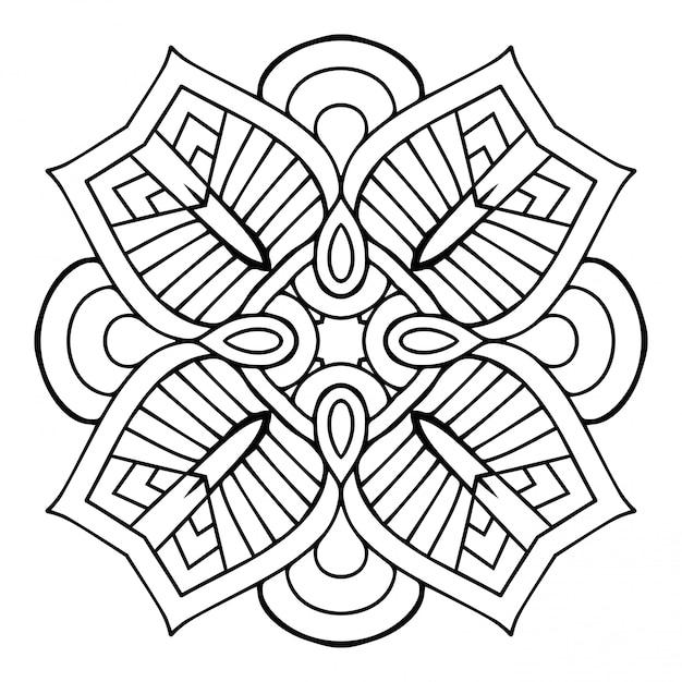 Mandala. einfaches lineares, dekoratives element. Premium Vektoren