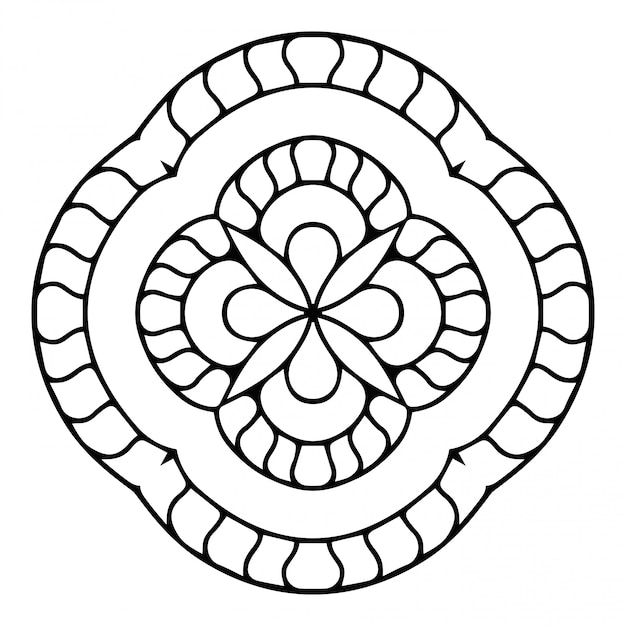 Mandala. einfaches lineares, dekoratives element. Premium Vektoren