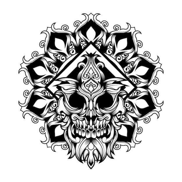 Mandala flower skull vector-illustration Premium Vektoren