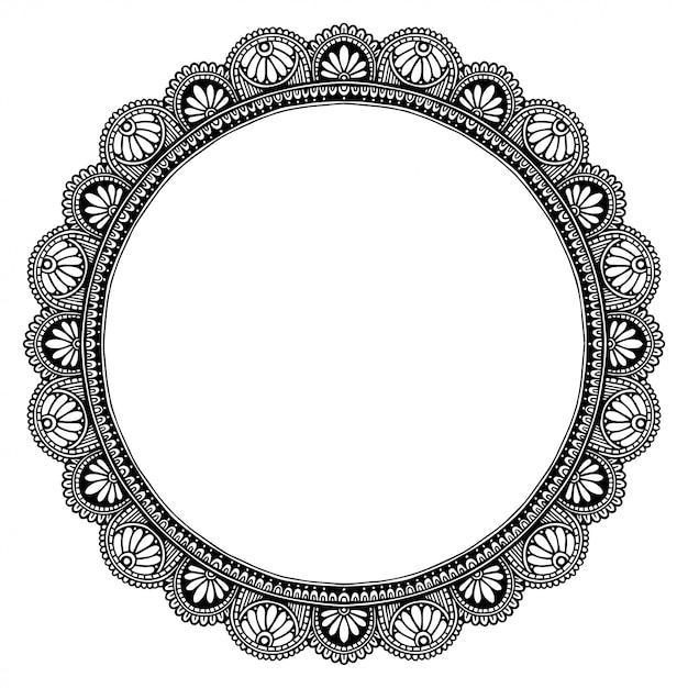 Mandala frame, orientalische therapie Premium Vektoren