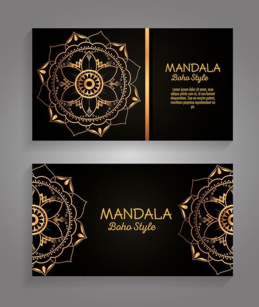 Mandala gold boho stil flyer Premium Vektoren