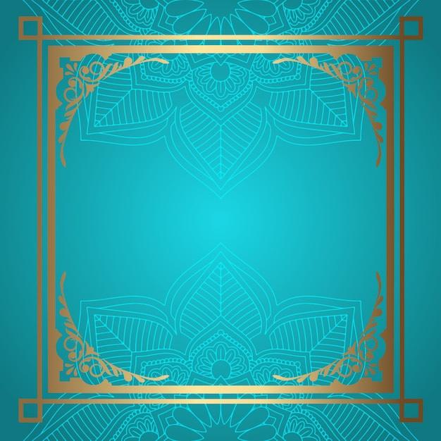 Mandala hintergrund mit dekorativem goldrand Kostenlosen Vektoren