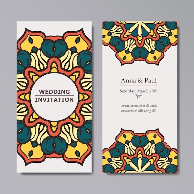 Mandala-Hochzeit Einladung Design  Download der kostenlosen Vektor