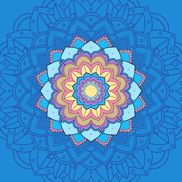Mandala in blau und gelb Kostenlosen Vektoren