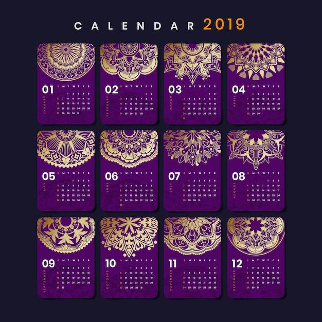 Mandala-kalender-modell Kostenlosen Vektoren