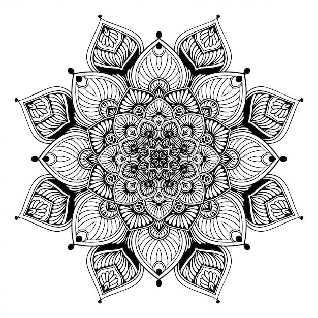 Mandala malbuch, orientalische therapie yoga gekritzel Premium Vektoren