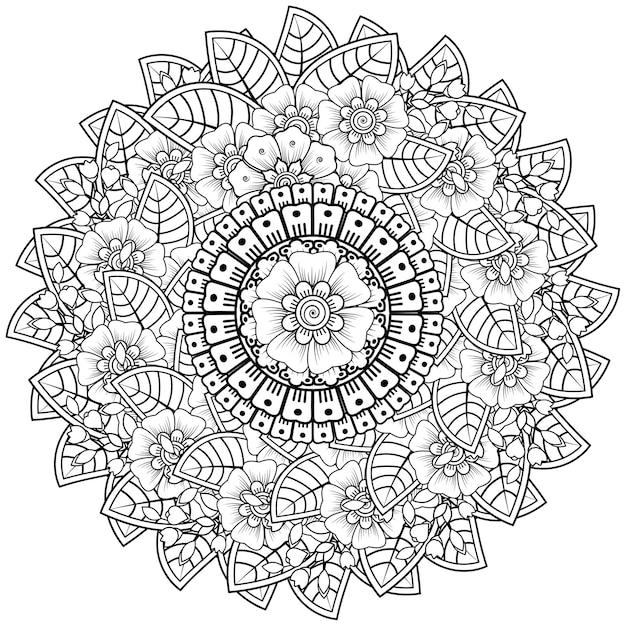 mandala mit mehndiblüten dekorative verzierung im