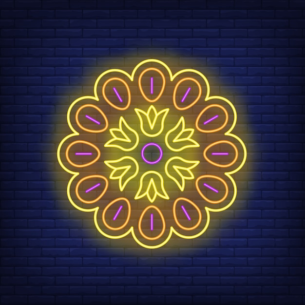 Mandala muster leuchtreklame Kostenlosen Vektoren