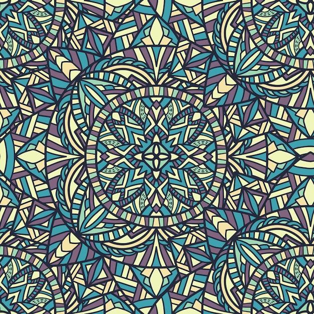 Mandala nahtlose hintergrundmuster. stammes-ornament. Premium Vektoren
