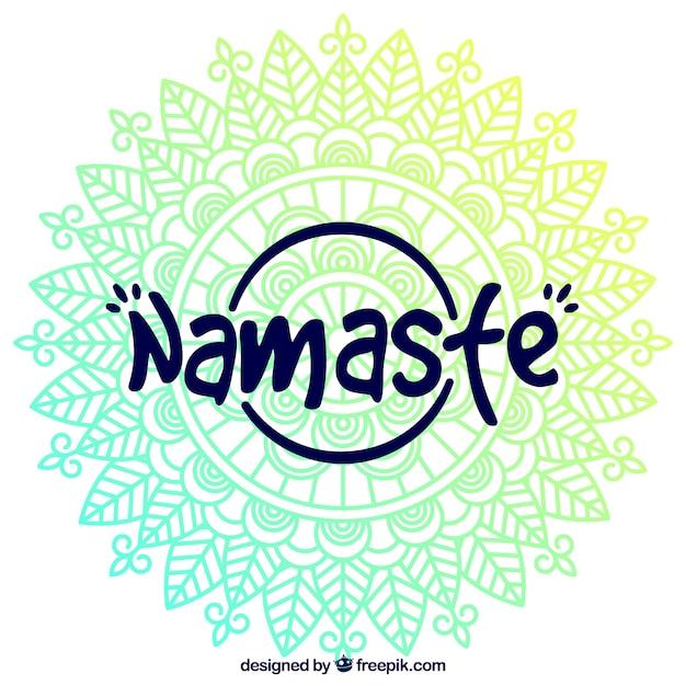 Mandala namaste schriftzug hintergrund Kostenlosen Vektoren