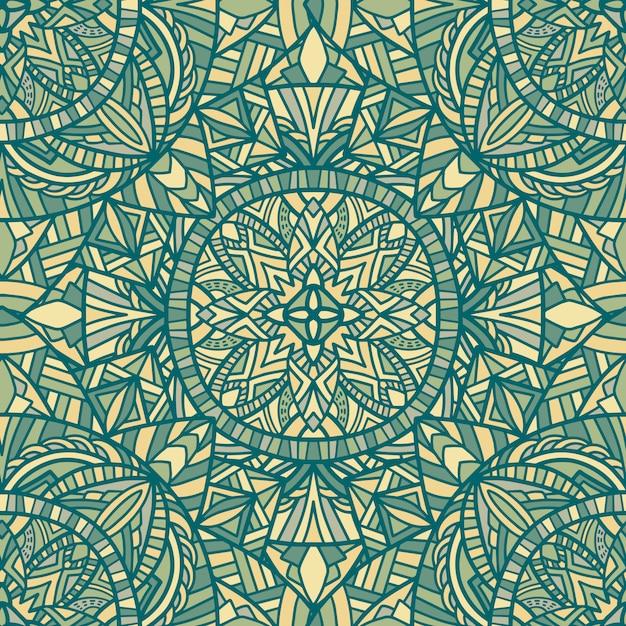 Mandala vektor nahtlose muster. stammes-ornament. Premium Vektoren