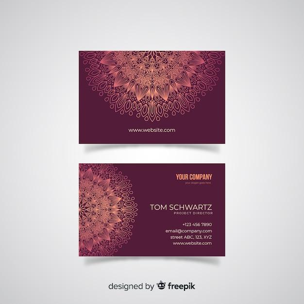 Mandala visitenkarte vorlage Kostenlosen Vektoren