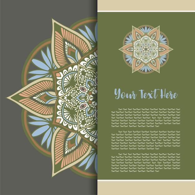 Mandala-weinlese-schablonen-karte Premium Vektoren