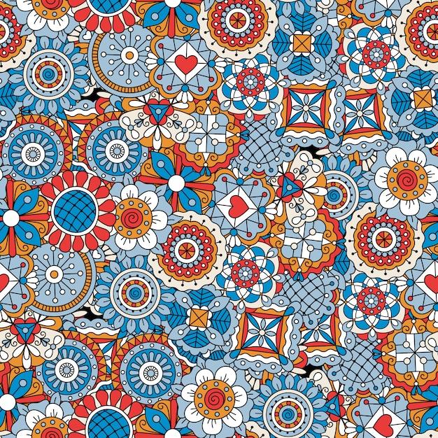 Mandalaart blüht blaues dekoratives muster Premium Vektoren